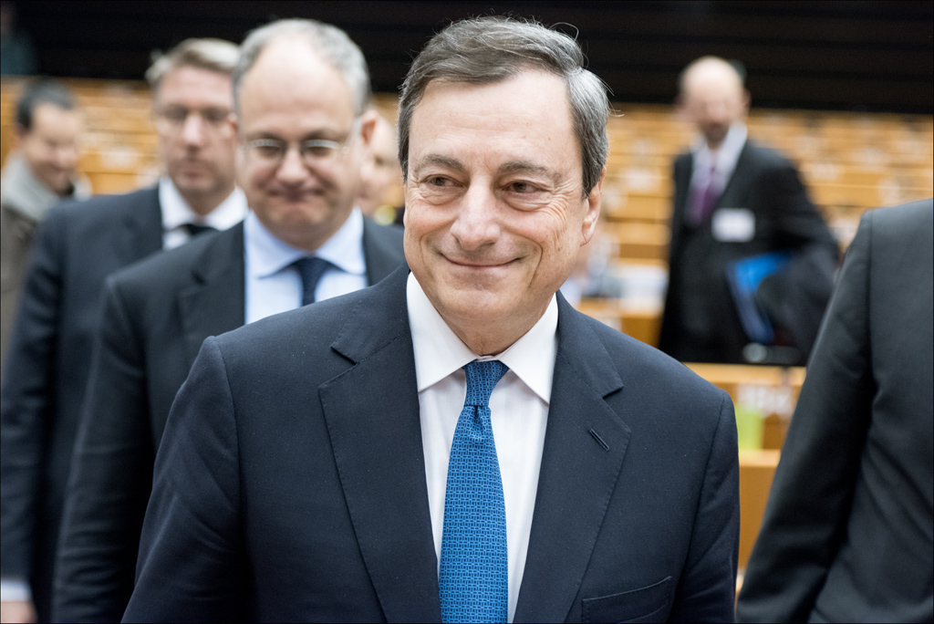 ECB President Mario Draghi at the ECON to discuss monetary dialogue and the bank's new quantitative easing policy