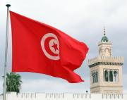 Tunisian flag and Monastir tower