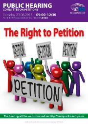 Poster for the Right to Petition Hearing - a group of men in different colours holding signboards with petition label.