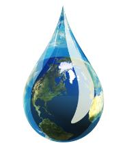 Right to water, earth in a water drop