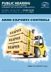 SEDE public hearing poster arms export controls - truck with weapons