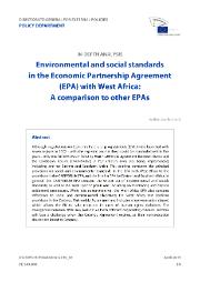 Environmental and Social Standards in the Economic Partnership Agreement (EPA) with West Africa: A Comparison to Other EPAs