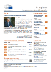 An image of the first page of the policy departments' monthly highlight