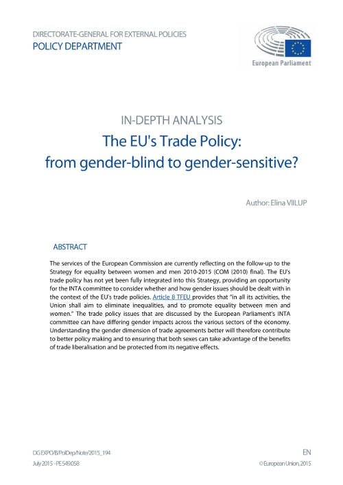 The EU's Trade Policy: from gender-blind to gender-sensitive?