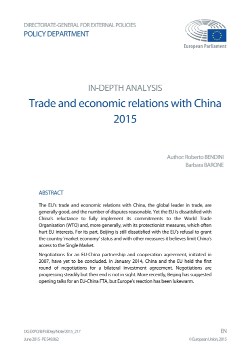 Trade and economic relations with China 2015