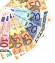 Euro bills of 10, 20 and 50 euro