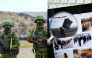 SEDE  left side: two little green men - Crimean crisis; right side: tablet pc over keyboard showing Daesh propaganda