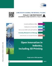Open innovation in industry including 3d printing