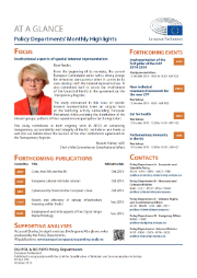 An image of the cover of the Policy Departments' monthly highlights, October 2015 issue