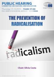 An image of the poster for the public hearing on the prevention of radicalisation