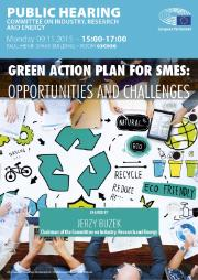 Image of a poster of the public hearing on Green action plan for SMEs