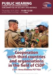 SEDE public hearing - cooperation with 3rd countries in CSDP - poster showing soldiers