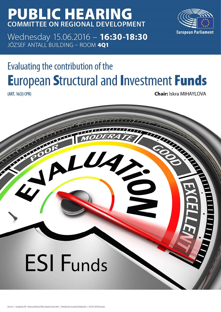 Poster for the Public Hearing on Evaluating the contribution of the ESI Funds