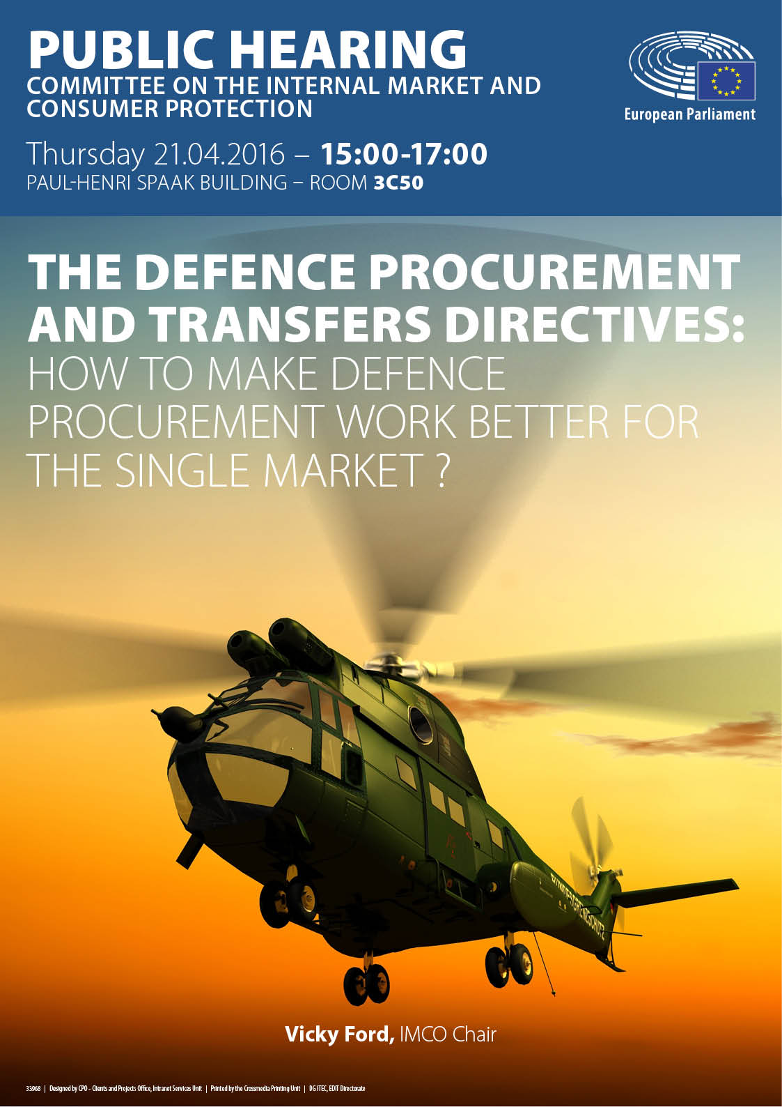 Poster of the hearing on Defence procurement