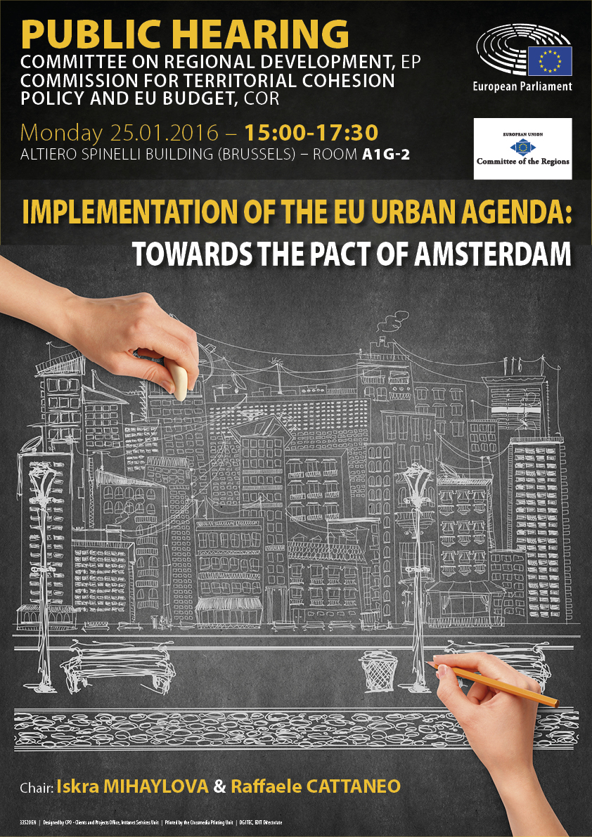Poster of the Joint REGI-COTER Public Hearing on the Implementation of the EU Urban Agenda