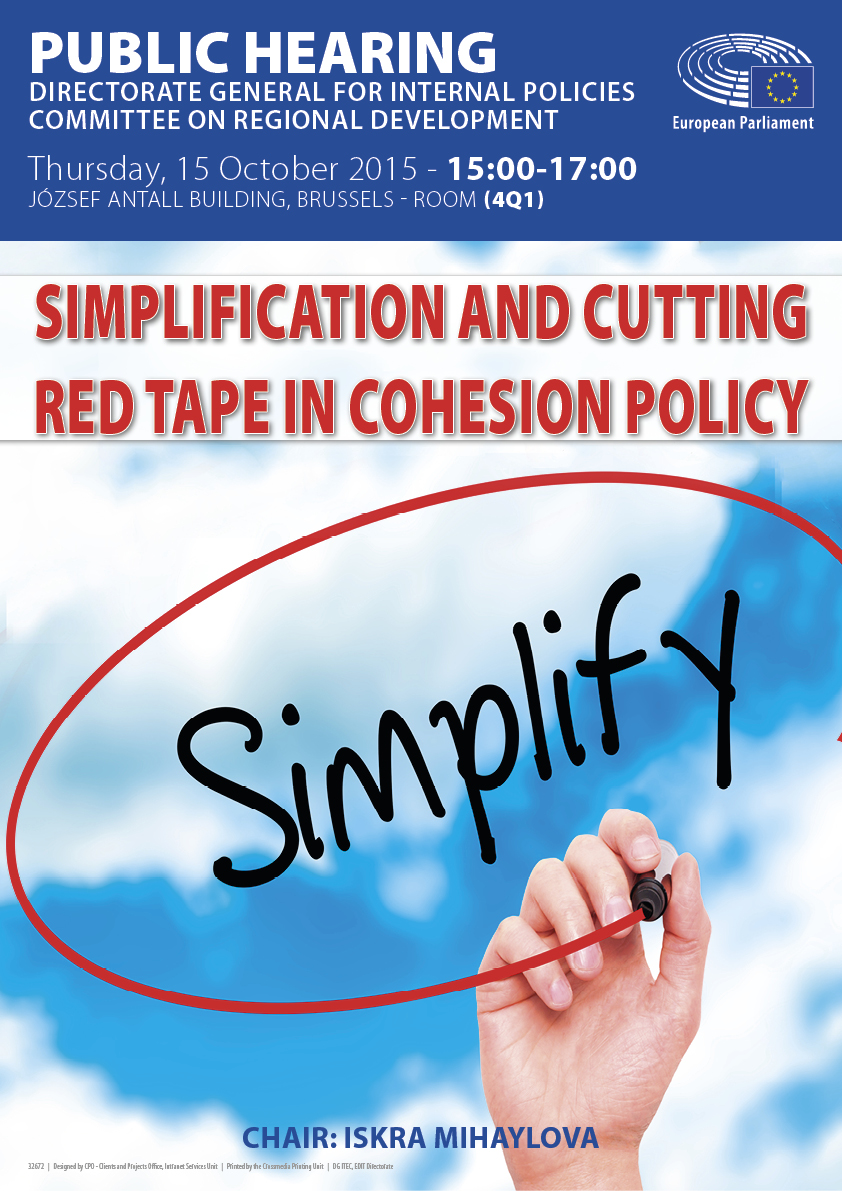Poster of the Public Hearing on the Simplification and cutting red tape in Cohesion Policy