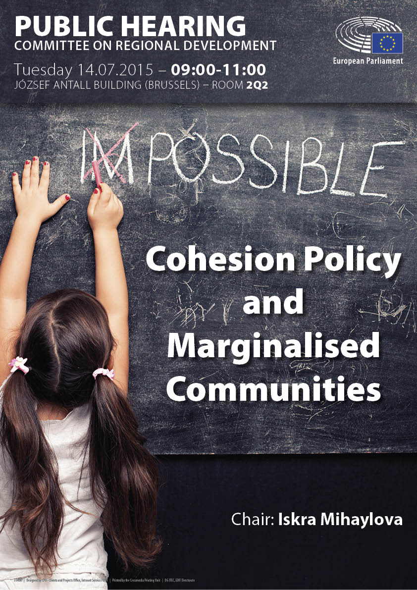 "Poster for the Hearing on ""Cohesion Policy and Marginalised Communitites"""