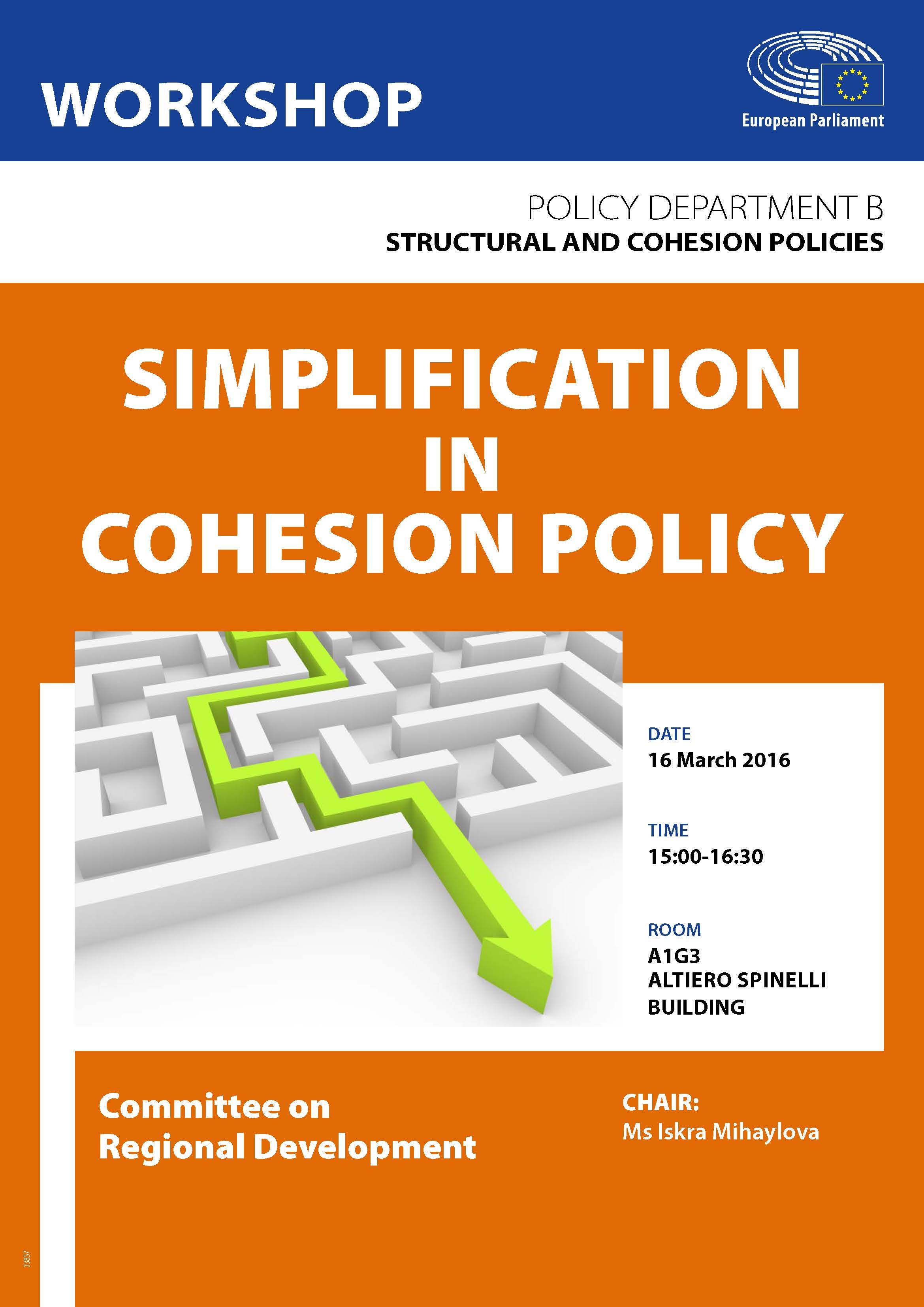 Poster for the Workshop on Simplification in Cohesion Policy