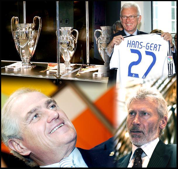Koláž: trofeje Real Madrid, predseda EP Pöttering, Paul Breitner (vľavo dole) a Ramón Calderón (vpravo dole) © A.MARTINEZ/REALMADRID.COM & EP