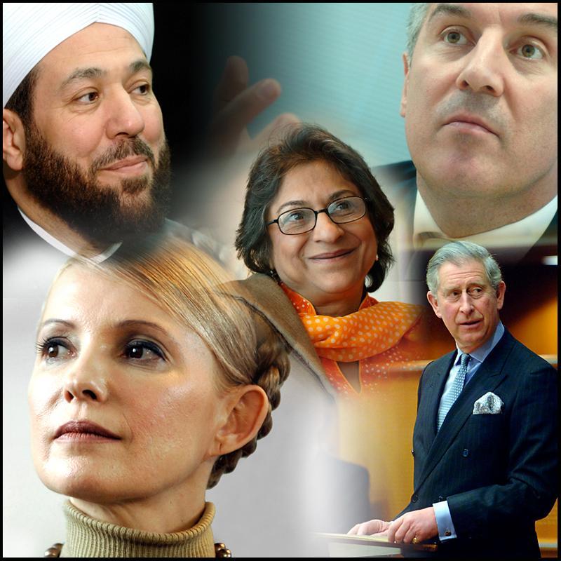 În sensul acelor de ceasornic din colţul din stânga sus: Marele Muftiu al Siriei, Ahmad Badr al-din Hassoun, primul ministru muntenegrean, Milo Djukanovic, Prinţul Charles, Iulia Timoşenko şi Asma Jahangir