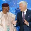 Jerzy Buzek welcomes Amadou Toumani Touré, the President of Mali, to the European Parliament in Strasbourg