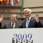 Jerzy Buzek and Václav Havel at the formal sitting of the European Parliament celebrating the 20th anniversary of democratic change in Central and Eastern Europe