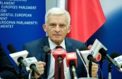 EP President Jerzy Buzek giving a press conference on the end of his term at European Parliament Information Office in Warsaw