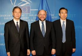 President Des Europäischen Parlaments Martin Schulz Syrien