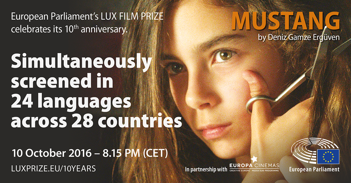 poster for simultaneous screening of Mustang, winner of the 2015 LUX Film Prize