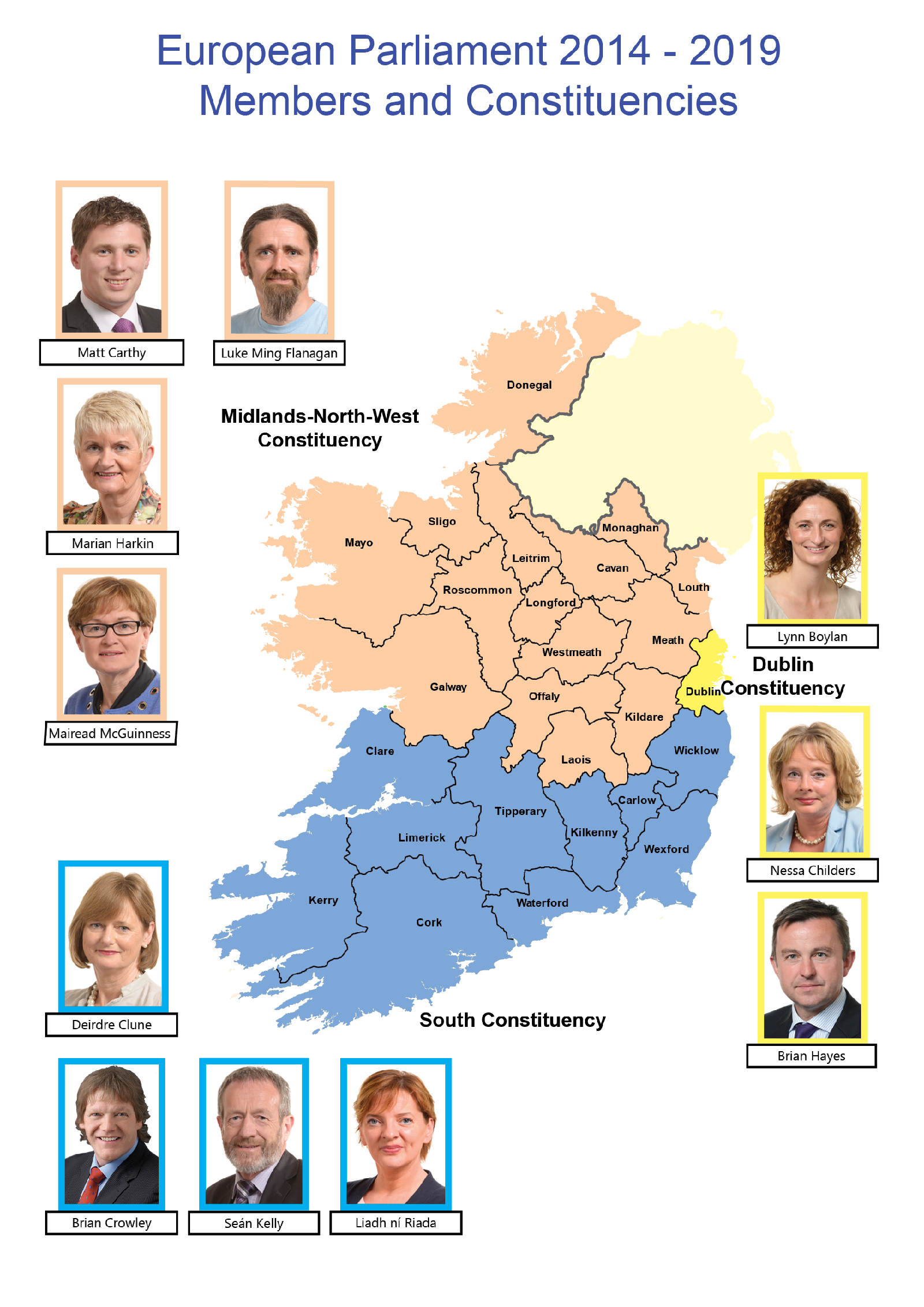 Map of Ireland-breakdown by constituency including MEPsMap of Ireland-breakdown by constituency including MEPs