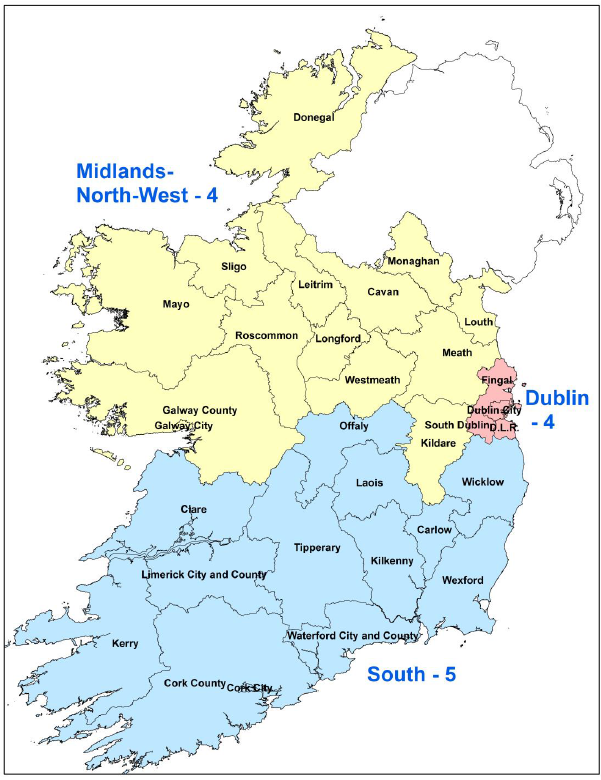 South Of Ireland Map.Constituencies European Elections European Parliament Liaison