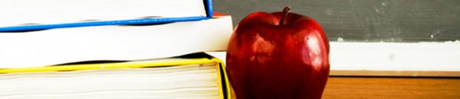 picture of red apple and schoolbooks