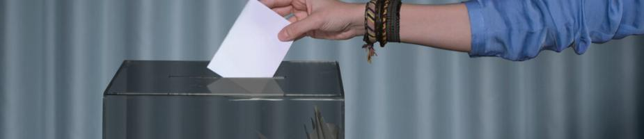 image of ballot paper being placed in ballot box