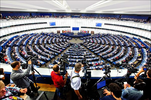 view of the hemicycle in Strasbourg from the press gallery