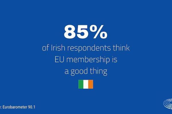 Graphic showing that 85% of Irish people support the EU