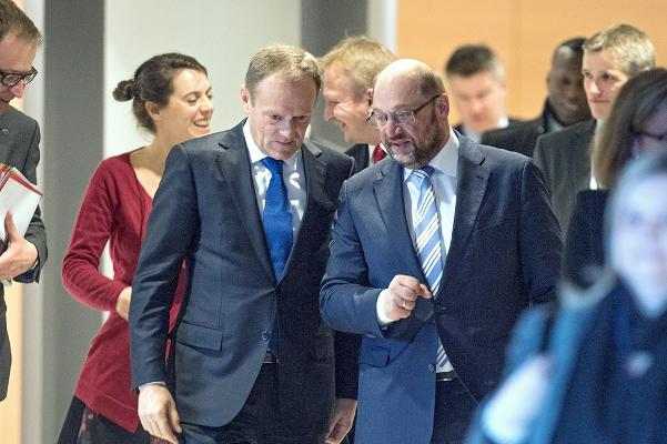 Martin Schultz and Donald Tusk speaking