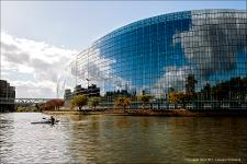 Hemicycle exterior as viewed from the river.