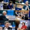 Neelie Kroes, Siim Kallas, John Dalli, Johannes Hahn, Günther Oettinger et Androulla Vassiliou lors de leurs auditions, le 14 janvier 2010.