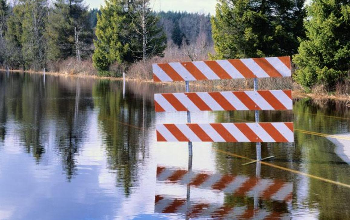 Sign blocking off a flooded road in a wooded area