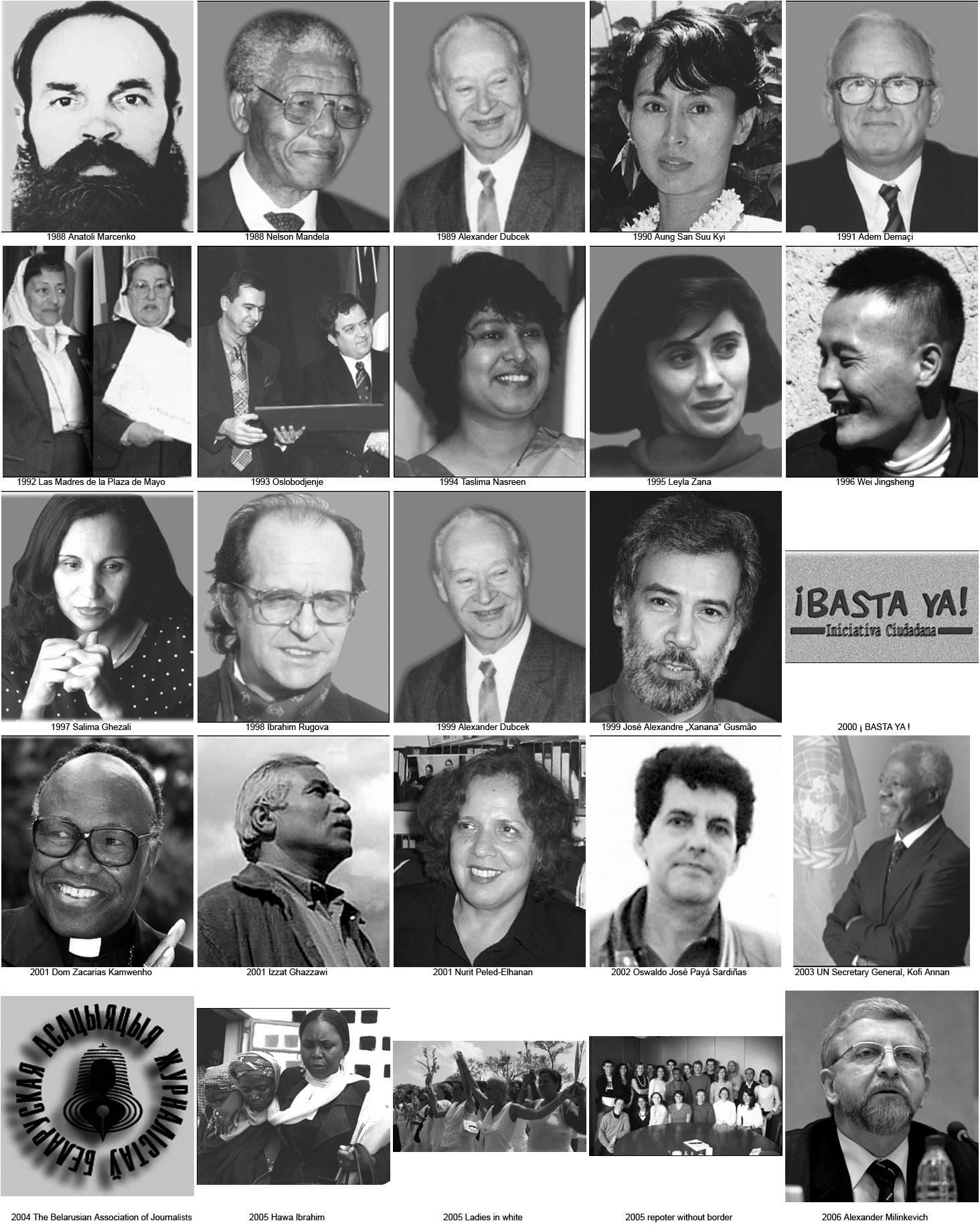 All the Sakharov prize winners, 1988-2006