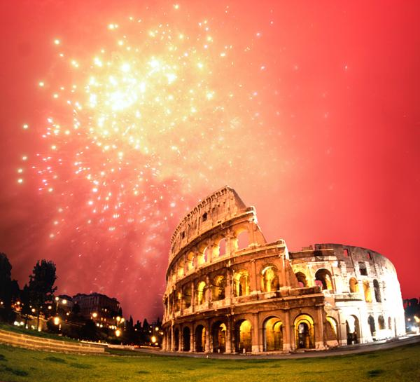 Fireworks behind the Colosseum in Rome