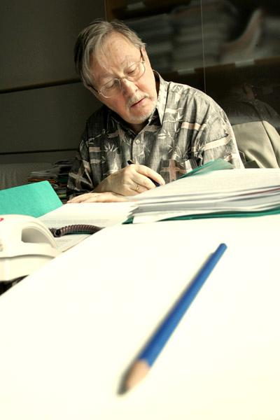 Lithuanian MEP Vytautas Landsbergis in his office in the European Parliament