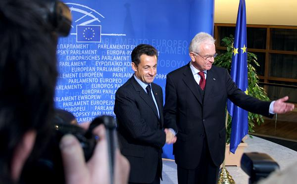 Presidents Nicloas Sarkozy and Hans-Gert Pöttering at the EP in Strasbourg