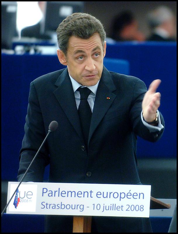 Nicolas Sarkozy presents the French presidency priorities in the EP hemicycle in Strasbourg on Thursday 10 of July 2008