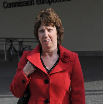 Trading places? Catherine Ashton outside Commission HQ in Brussels