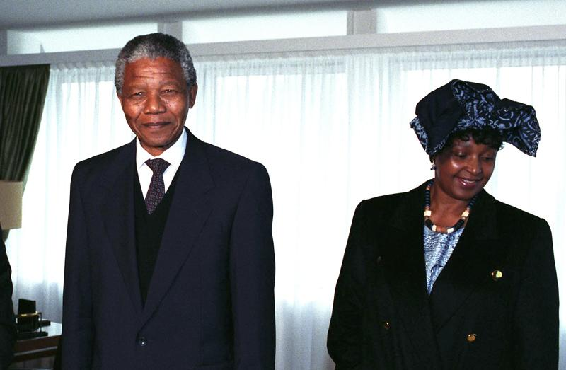 Nelson Mandela: winner of the prize in 1988 for his anti-Apartheid struggle with his former wife Winnie