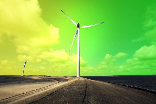 A wind turbine stands against a green sky  ©Belga/ccu
