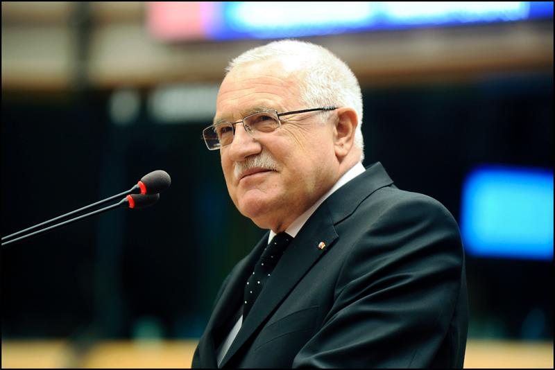 President of the Czech Republic Vaclav Klaus addresses the EP in Brussels