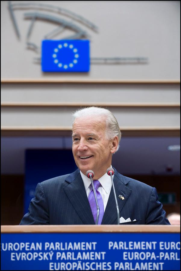 US Vice-President  Joe Biden addressing a sitting of the European Parliament on Thursday 6 May 2010.