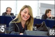 Rapporteur Barbara Matera smiling after the three report have been approved by the EP Chamber